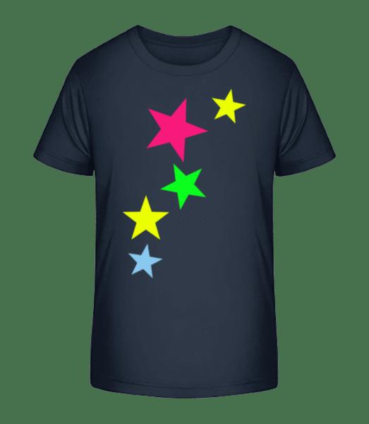 Bunte Sterne - Kinder Premium Bio T-Shirt - Marine - Vorn