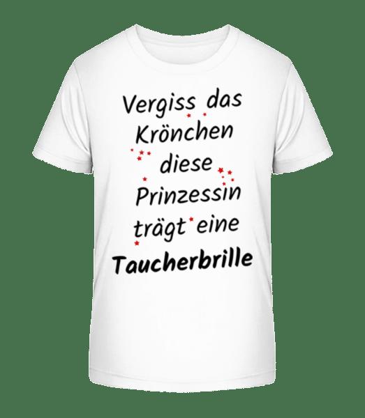 Prinzessin Trägt Taucherbrille - Kinder Premium Bio T-Shirt - Weiß - Vorn