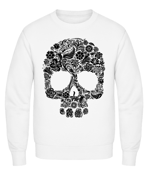 Flower Skull - Classic Set-In Sweatshirt - White - Vorn