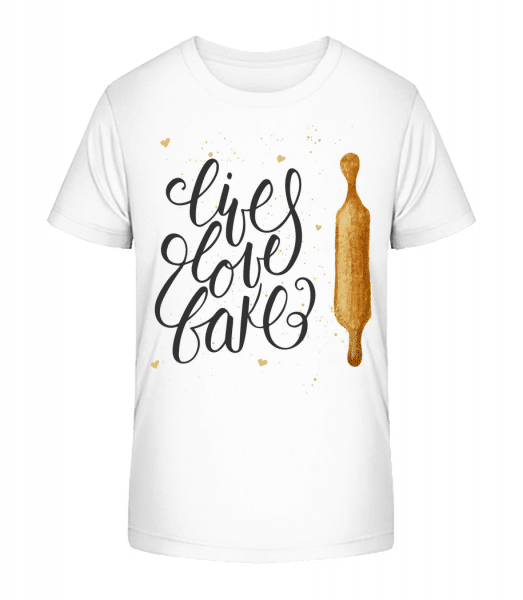 Live Love Bake - Kid's Premium Bio T-Shirt - White - Vorn