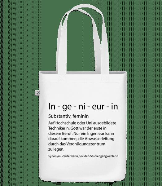 Ingenieurin Quatsch Duden - Bio Tasche - Weiß - Vorn