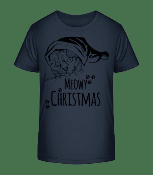 Meowy Christmas - Kinder Premium Bio T-Shirt - Marine - Vorn