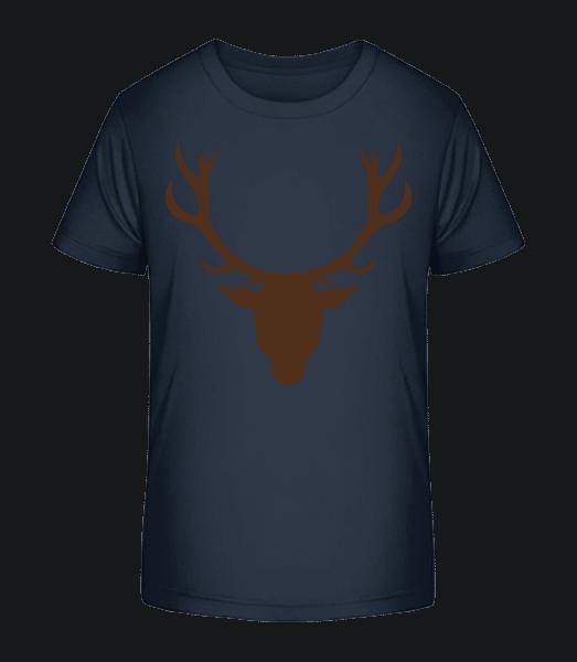 Deer - Brown - Kid's Premium Bio T-Shirt - Navy - Front
