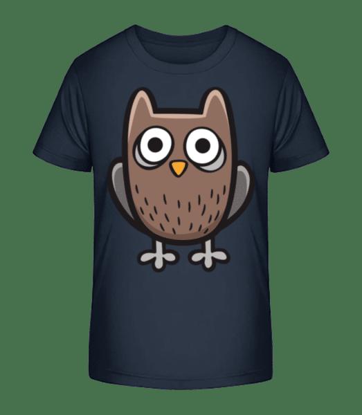 Comic Eule - Kinder Premium Bio T-Shirt - Marine - Vorn