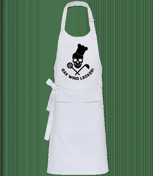 Das Wird Lecker Totenkopf - Profi Kochschürze - Weiß - Vorn