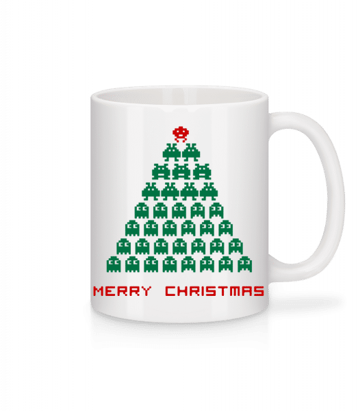 Merry Christmas Pixel Monster - Mug - White - Vorn