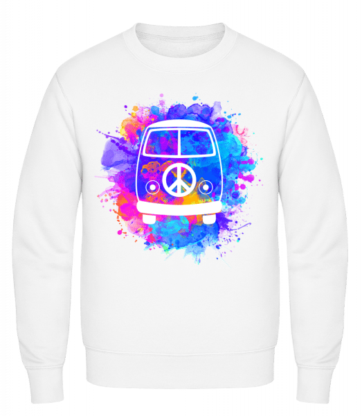 Hippie Bus - Classic Set-In Sweatshirt - White - Vorn