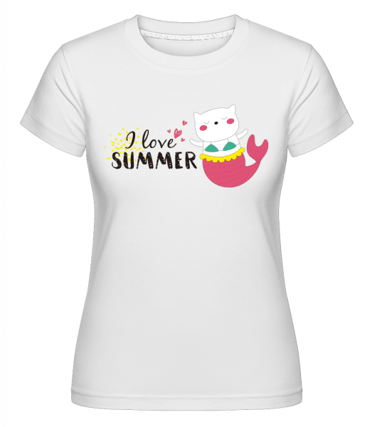 I Love Summer Cat Fish -  T-shirt Shirtinator femme - Blanc - Vorn