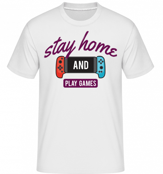 Stay Home And Play Games -  Shirtinator Men's T-Shirt - White - Front