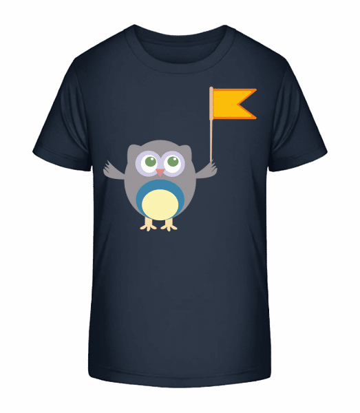 Cute Owl With Flag - Kid's Premium Bio T-Shirt - Navy - Front