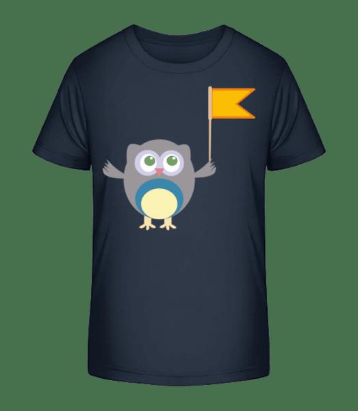 Süße Eule Mit Fähnchen - Kinder Premium Bio T-Shirt - Marine - Vorn