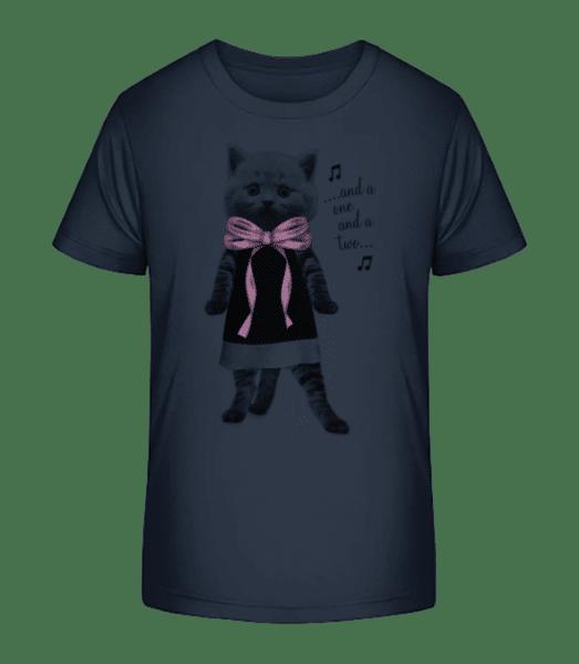 Dancing Cat - Kid's Premium Bio T-Shirt - Navy - Front