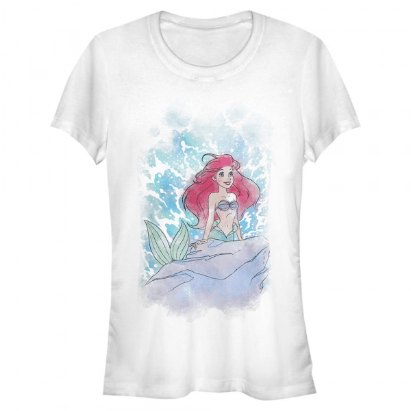 Watercolor Splash Ariel - Disney The Little Mermaid - Women's T-Shirt - White - Front