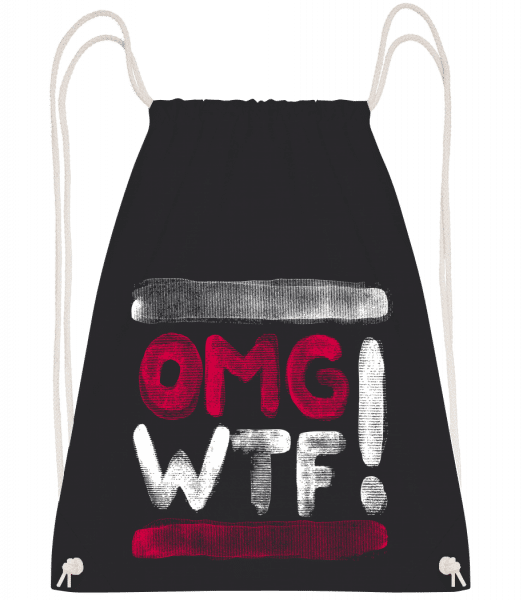 OMG WTF - Drawstring Backpack - Black - Vorn