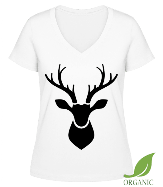 "Deer Shadow - ""Janet"" Organic V-Neck T-Shirt - White - Vorn"