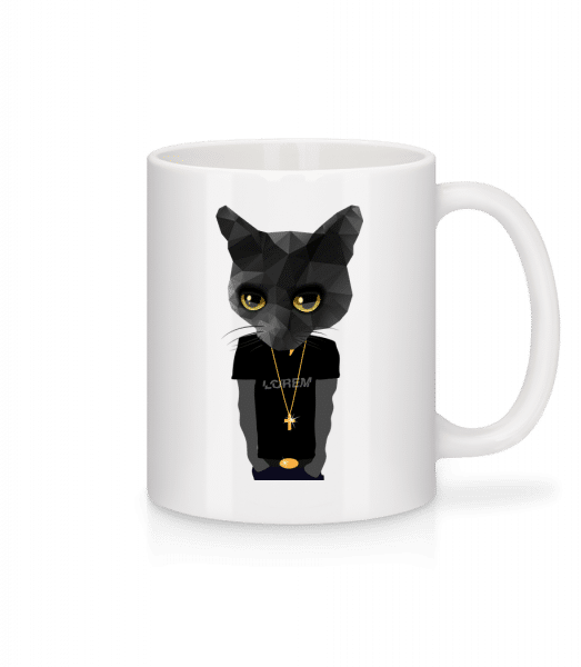 Polygon Gangsta Cat - Mug - White - Vorn