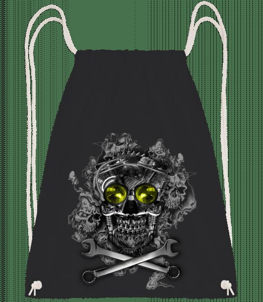 Machine Skull - Drawstring Backpack - Black - Vorn