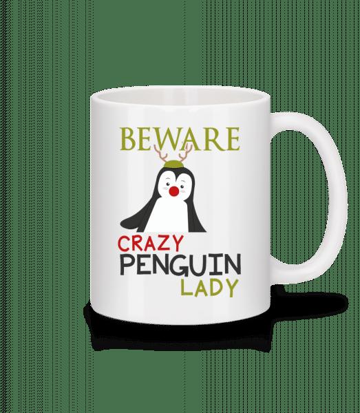 Beware Of Penguin Lady - Mug en céramique blanc - Blanc - Devant