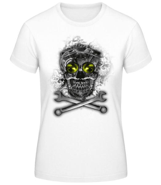 Machine Skull - Women's Basic T-Shirt - White - Front