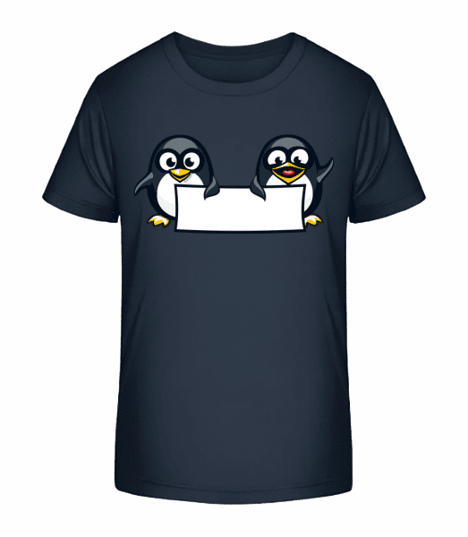 Cute Penguins Sign - T-shirt bio Premium Enfant - Bleu marine - Vorn