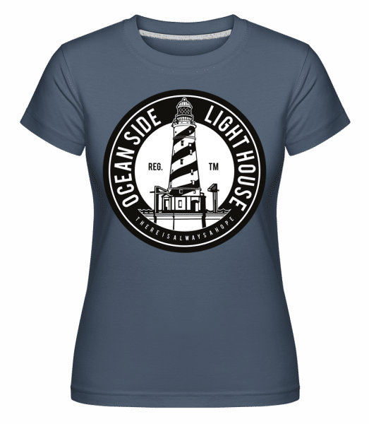 Ocean Side Light House -  Shirtinator Women's T-Shirt - Denim - Vorn