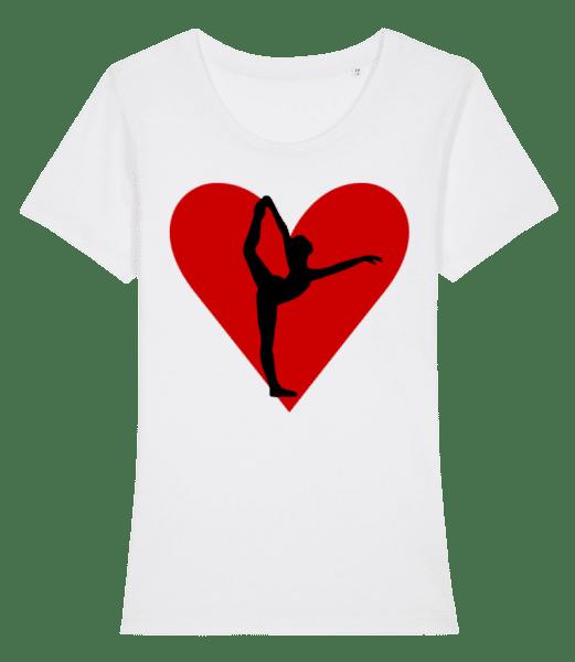 Yoga Herz - Frauen Premium Bio T-Shirt Stanley Stella - Weiß - Vorn