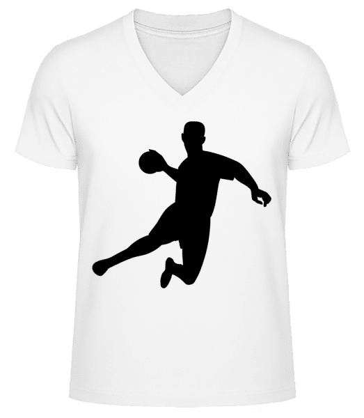 Handball - Men's V-Neck Organic T-Shirt - White - Vorn