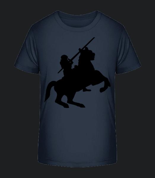 Knight Silhouette Black - Detské Premium Bio tričko - Namornícka modrá - Predné