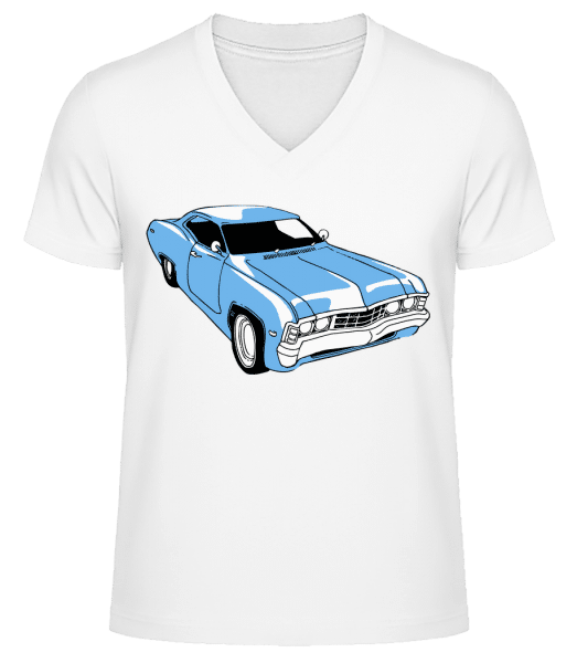 Car Comic - Men's V-Neck Organic T-Shirt - White - Vorn