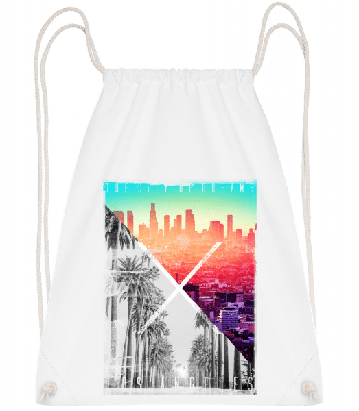 Los Angeles Dream - Drawstring Backpack - White - Vorn