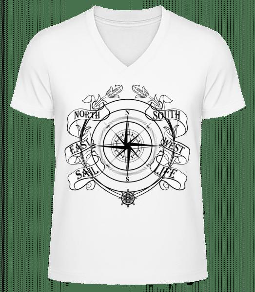 Sailing Compass - Men's V-Neck Organic T-Shirt - White - Vorn