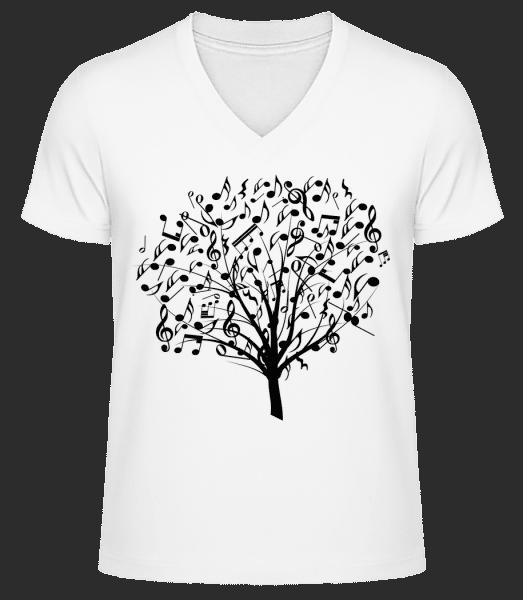 Music Tree - Men's V-Neck Organic T-Shirt - White - Vorn