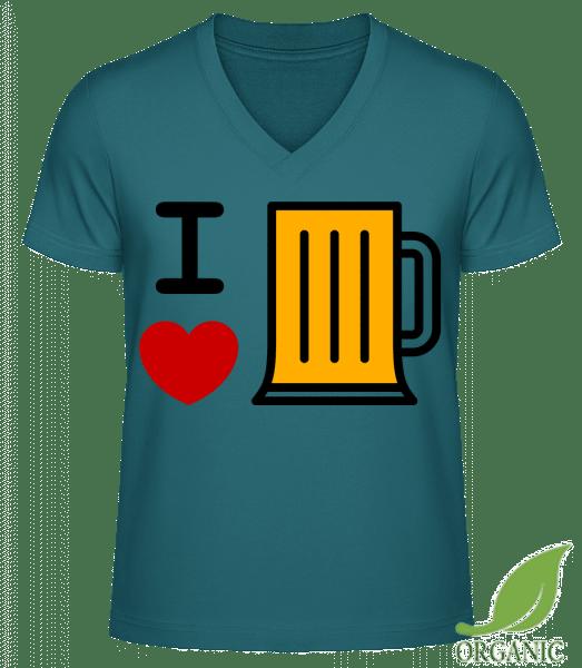 Ich Liebe Bier - Männer Bio V-Neck T-Shirt - Petrol - Vorn