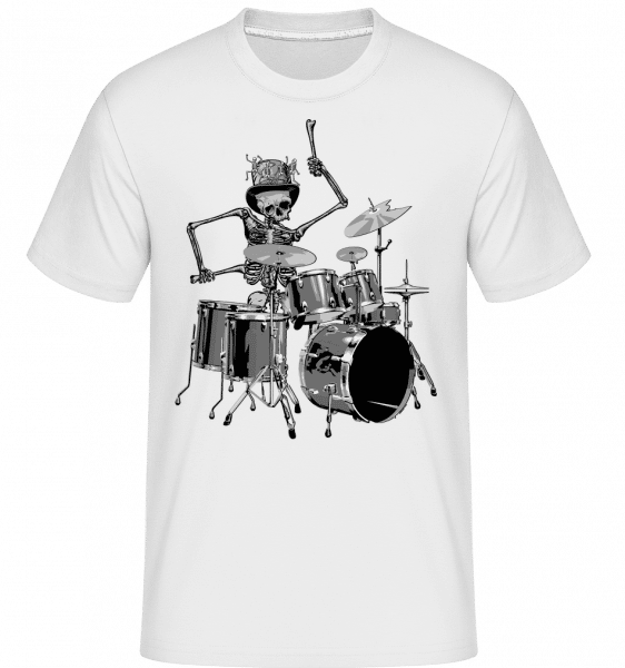 Drum Skeleton -  Shirtinator Men's T-Shirt - White - Front
