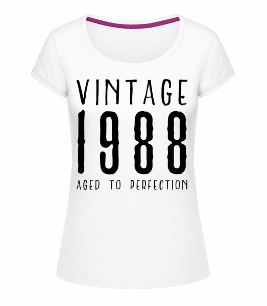 Vintage 1988 Aged To Perfection - Megan Crewneck T-Shirt - White - Vorn
