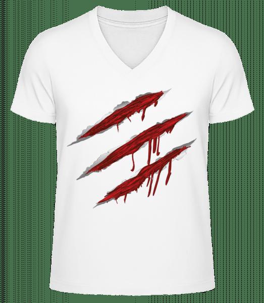 Bloody Scratches - Men's V-Neck Organic T-Shirt - White - Vorn