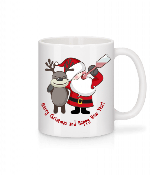 Merry Christmas Santa And Deer - Mug - White - Vorn