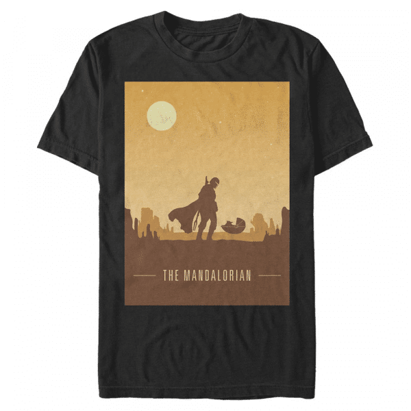 Mando and Child Poster Mando & Yoda - Star Wars Mandalorian - Men's T-Shirt - Black - Front