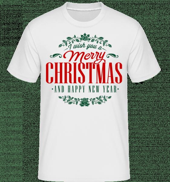 Merry Christmas Label -  Shirtinator Men's T-Shirt - White - Vorn