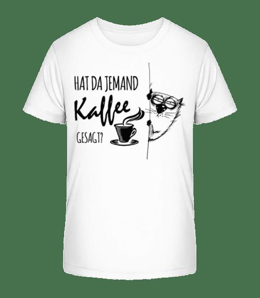 Kaffee Katze - Kinder Premium Bio T-Shirt - Weiß - Vorn