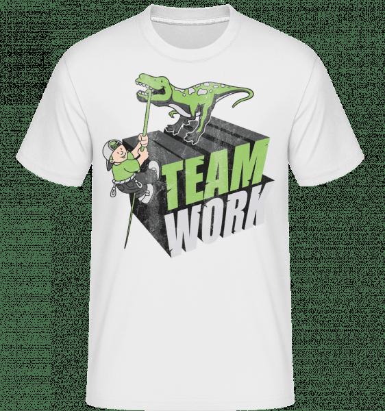 Dinosaur Teamwork -  Shirtinator Men's T-Shirt - White - Vorn