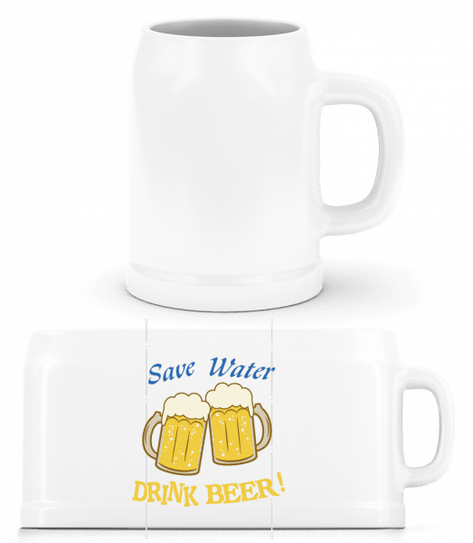 Save Water Drink Beer! - Bierkrug - Weiß - Vorn