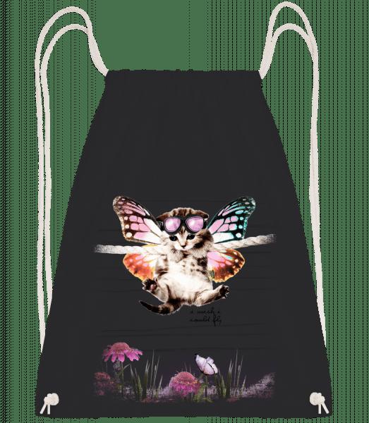 Butterfly Cat - Drawstring Backpack - Black - Vorn