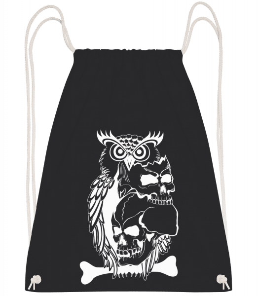 Owls Skulls Tattoo - Drawstring Backpack - Black - Vorn