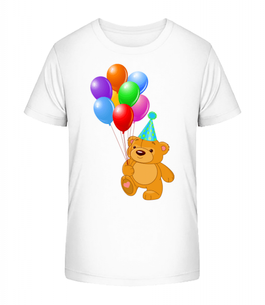 Bear with Balloons - Kid's Premium Bio T-Shirt - White - Vorn