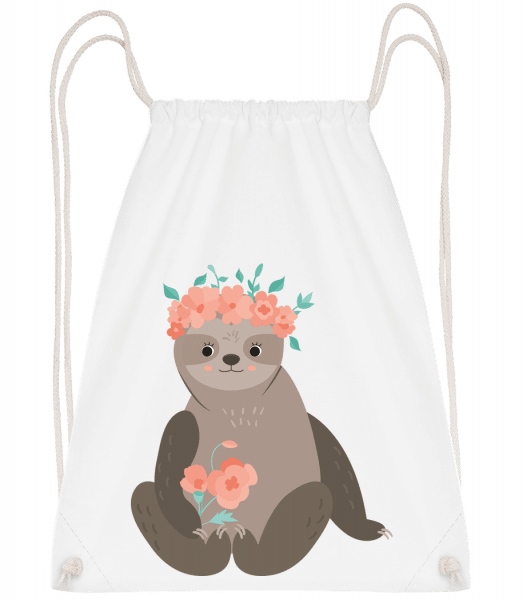 Sloth With Flowers - Gym bag - White - Vorn