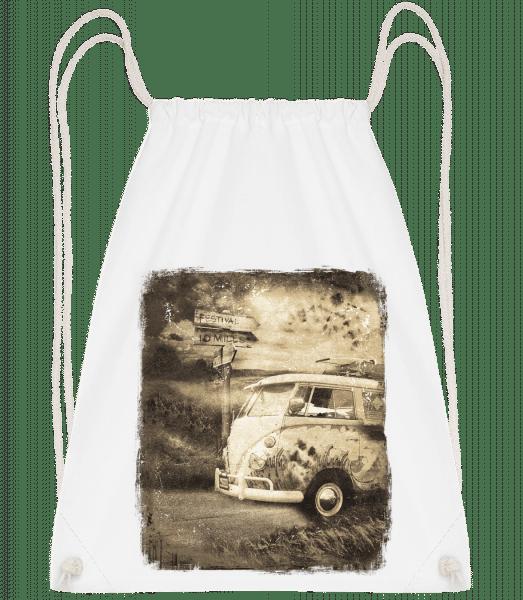 Festival Bus - Drawstring Backpack - White - Vorn