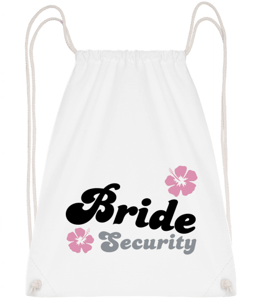 Bride Security Flowers - Drawstring Backpack - White - Vorn