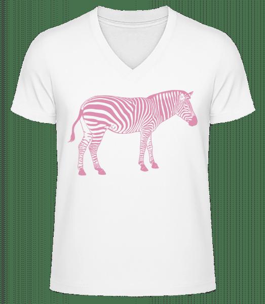 Zebra - Men's V-Neck Organic T-Shirt - White - Vorn