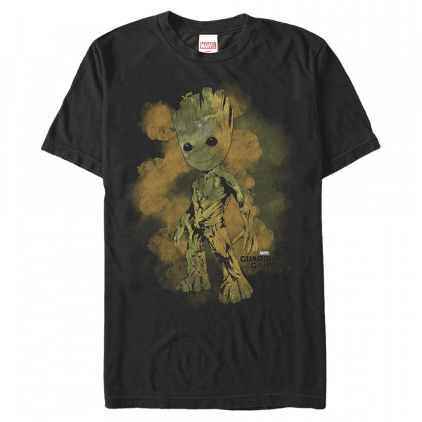 Watercolor Groot - Marvel Guardians of the Galaxy - Men's T-Shirt - Black - Front